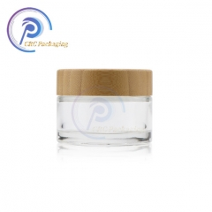 Clear glass cosmetic body cream jar with wood lids for skincare packaging set cosmetic glass jars with wood lid