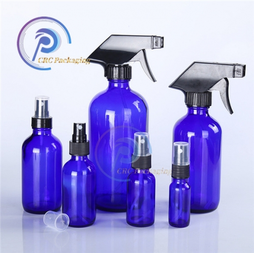 Packaging essential oil 1/2oz 1oz 2oz 4oz 250ml 500ml 16oz Clear Blue Amber Boston Glass Bottle with Trigger Spray Cap