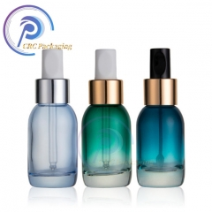 Cosmetic frosted clear green glass dropper serum bottles for essential oil